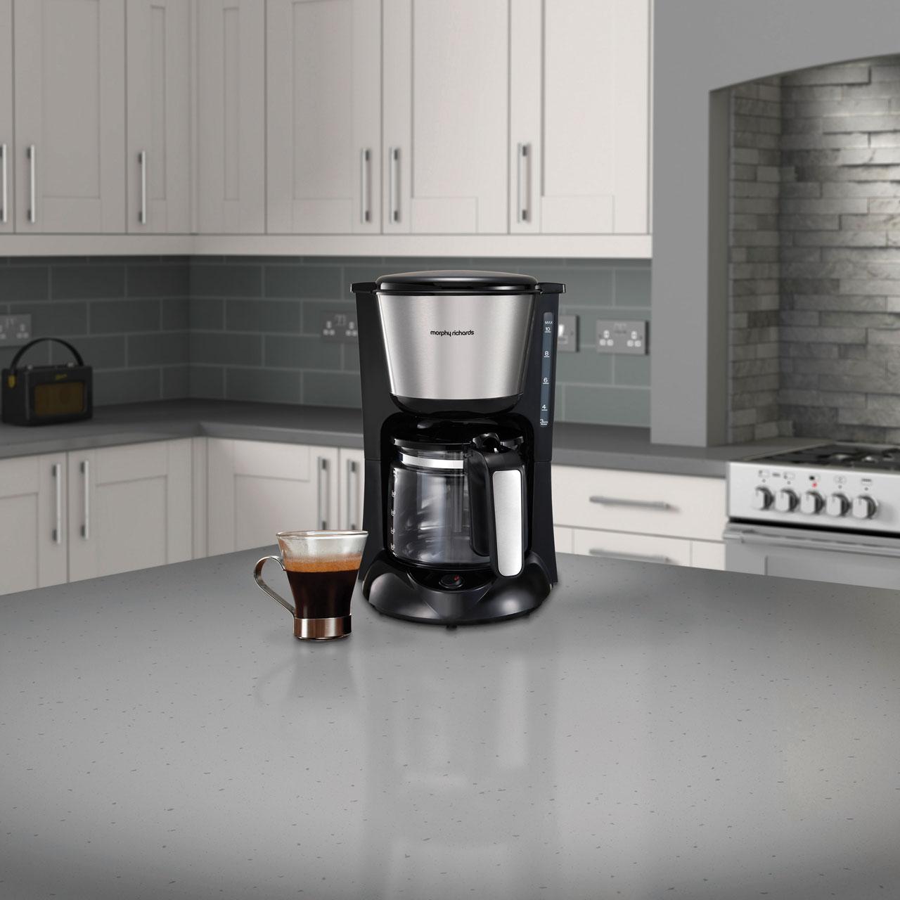 Morphy Richards Equip 162501 Filter Coffee Machine Black Brushed Steel