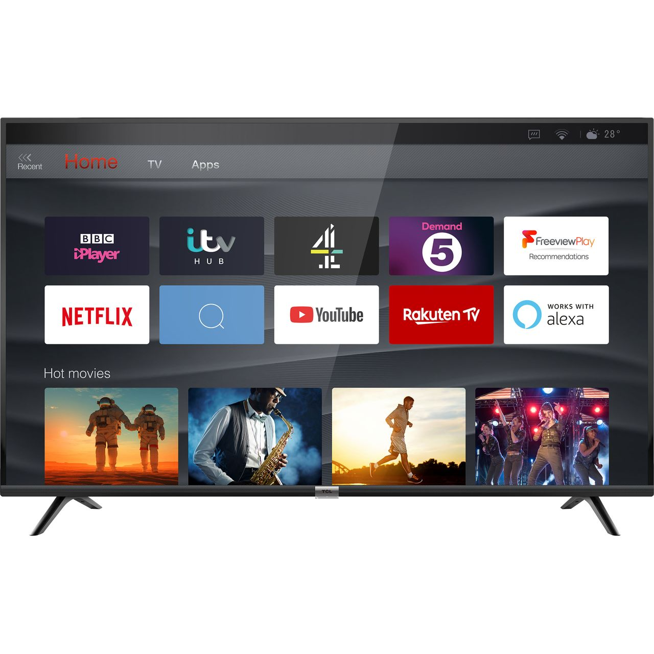 43dp628 Tcl 43 4k Uhd Hdr10 Led Tv Ao Com