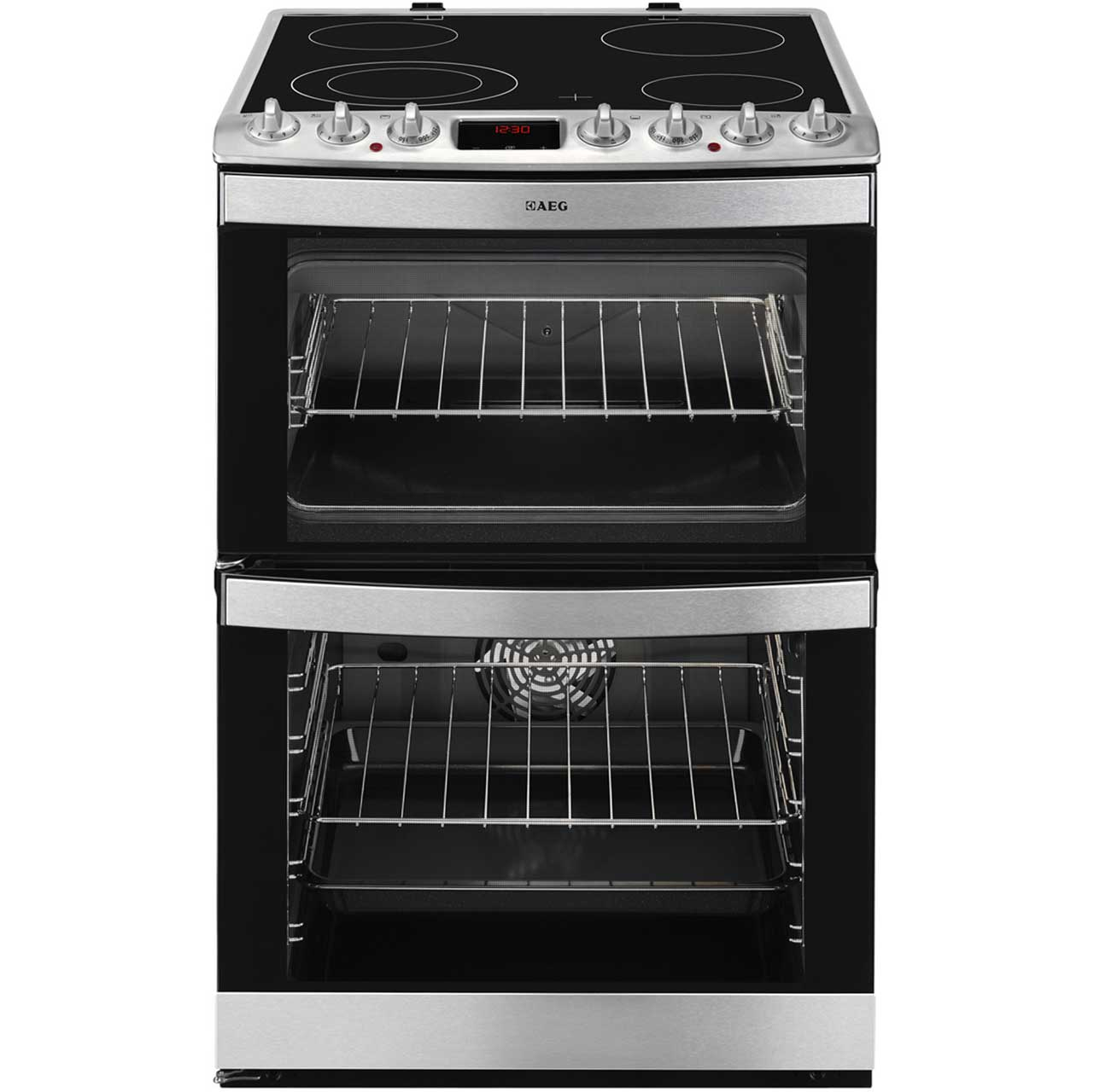 AEG 47102V-MN 60cm Electric Double Oven Cooker With Ceramic Hob Stainless Steel