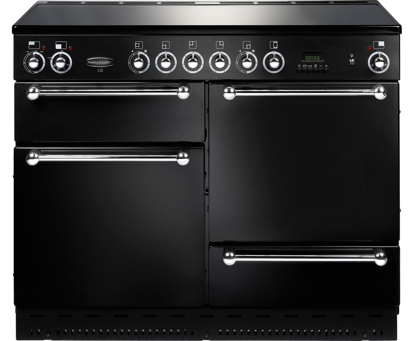 Rangemaster RMS110ECBLSDC Free Standing Range Cooker in Black  Chrome