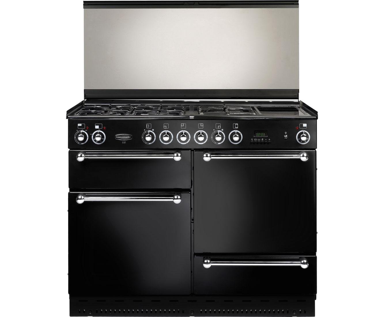 Rangemaster RMS110NGFBLSDC Free Standing Range Cooker in Black  Chrome