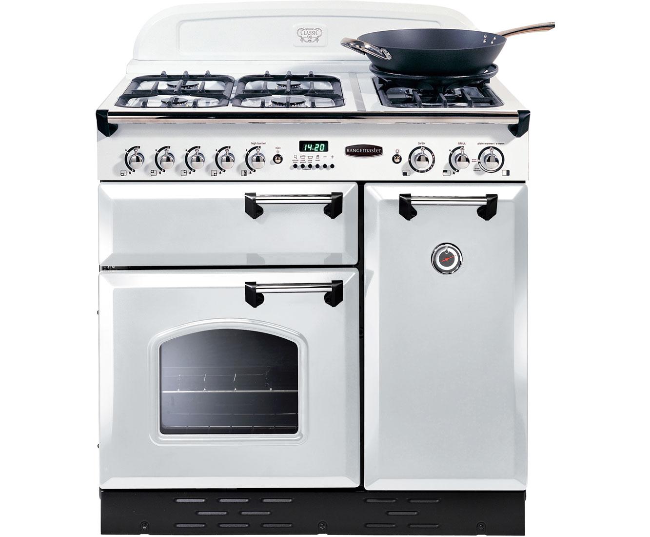 Rangemaster Classic CLBS90LPFWHC Free Standing Range Cooker in White  Chrome