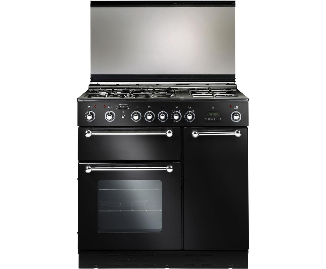 Rangemaster RMS90DFFBLPDC Free Standing Range Cooker in Black  Chrome