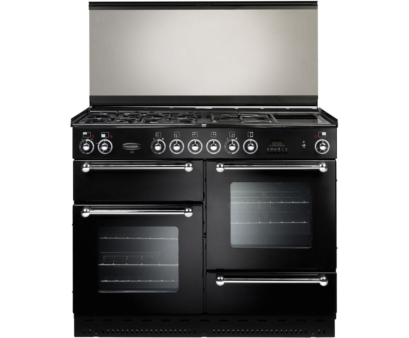 Rangemaster RMS110DFFBLPDC Free Standing Range Cooker in Black  Chrome