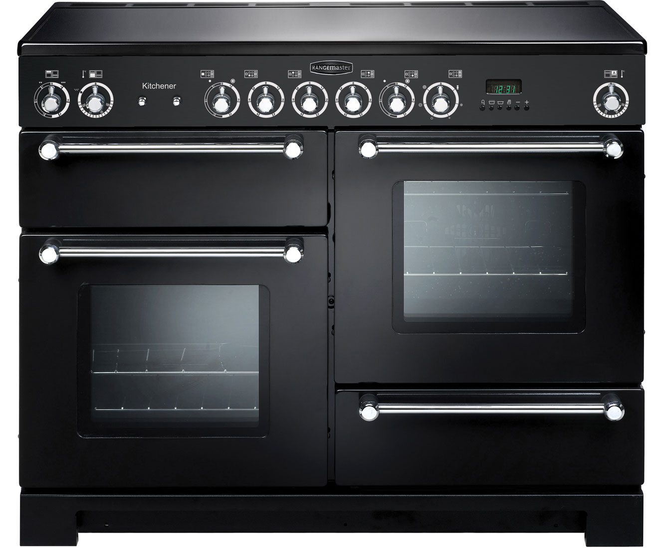 Rangemaster Kitchener KCH110ECBLC Free Standing Range Cooker in Black  Chrome