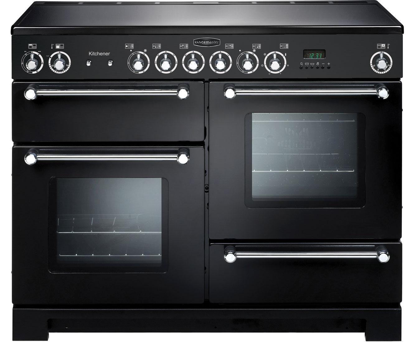 Rangemaster Kitchener KCH110ECBLC Free Standing Range Cooker in Black  Chrome