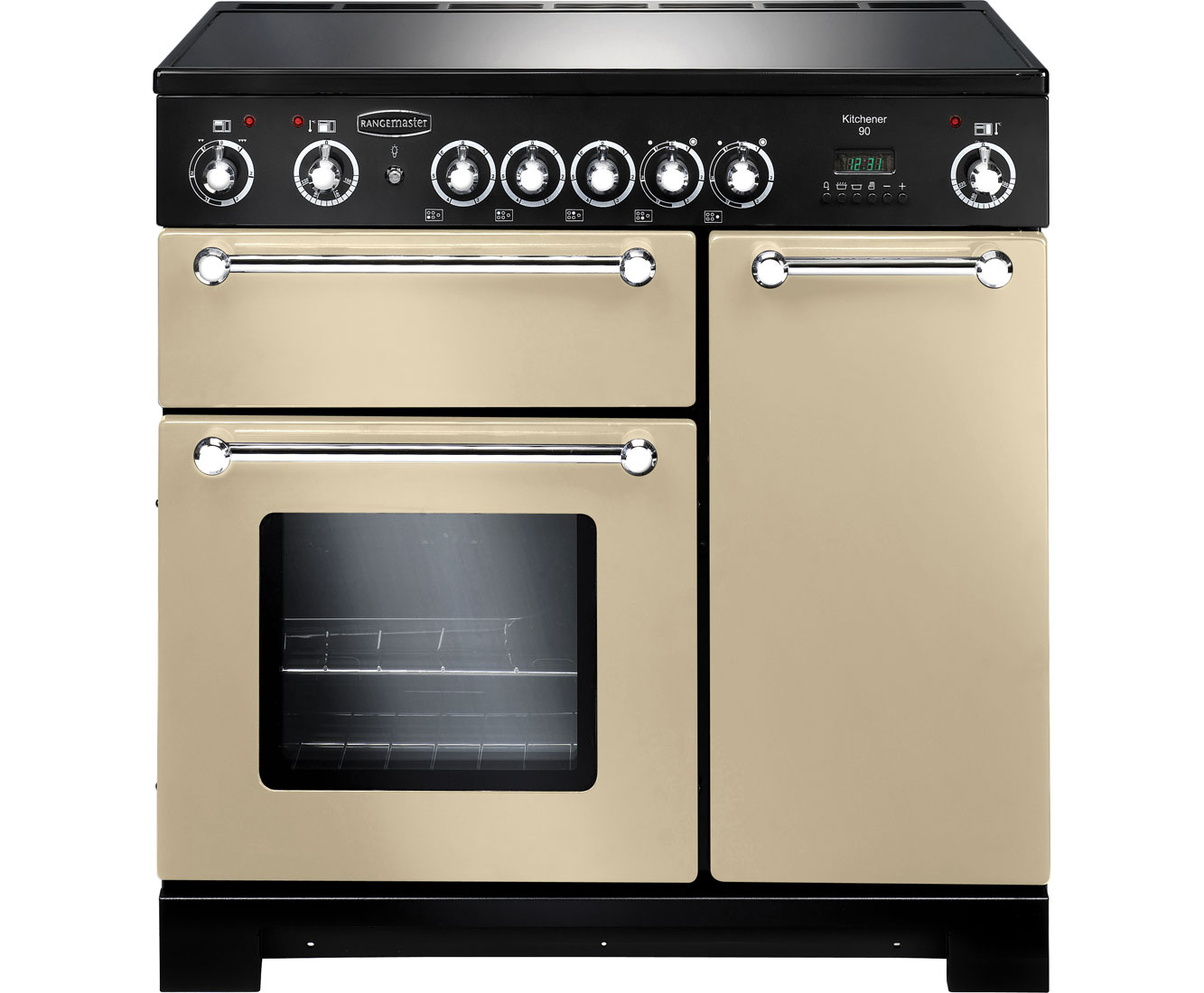 Rangemaster Kitchener KCH90ECCRC Free Standing Range Cooker in Cream  Chrome