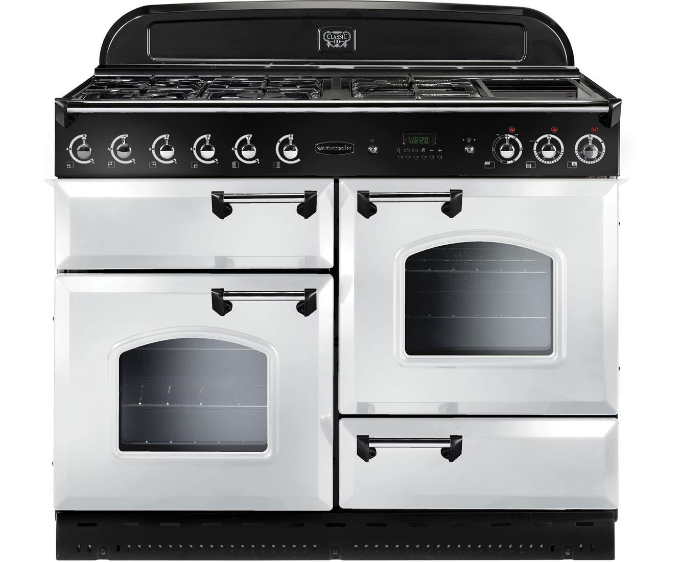 Rangemaster Classic CLAS110LPFWHC Free Standing Range Cooker in White  Chrome