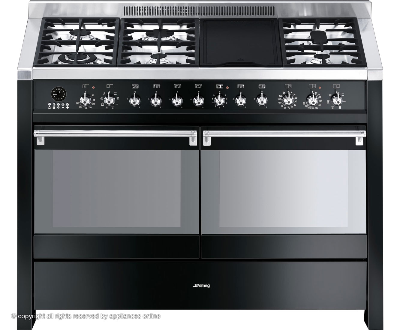 smeg opera a4bl 8 120cm dual fuel range cooker review. Black Bedroom Furniture Sets. Home Design Ideas