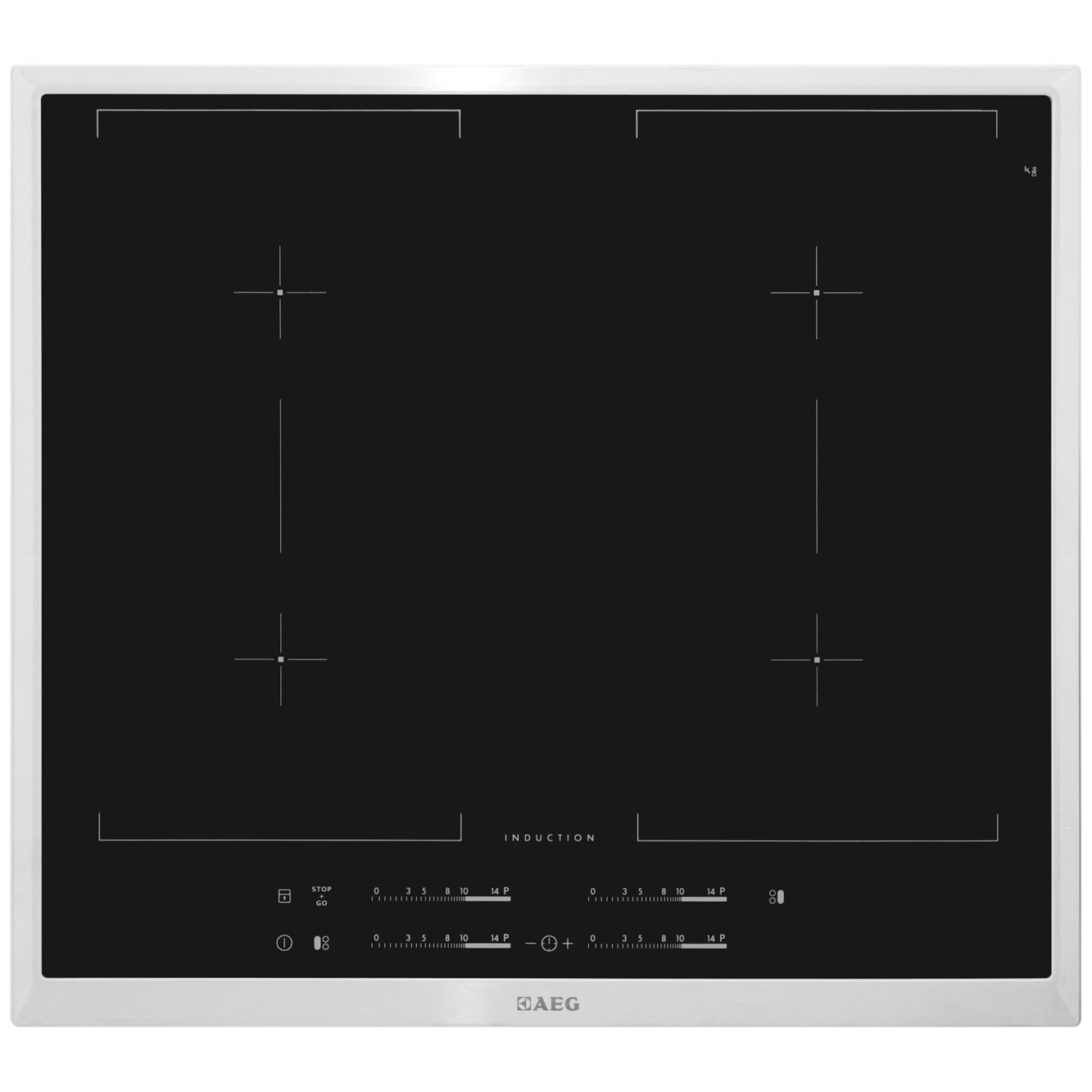 AEG Competence HK654400XB 58cm Induction Hob - Black / Stainless Steel