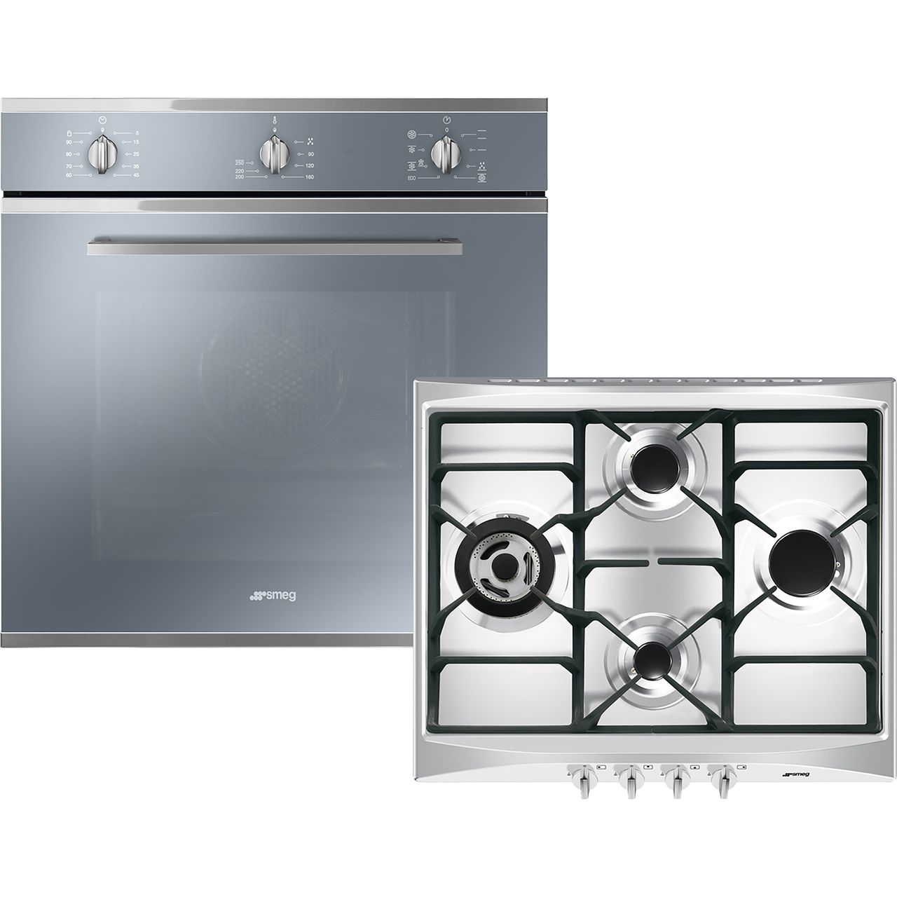 Smeg Cucina AOSF64M3G Built In Electric Single Oven and Gas Hob Pack -  Stainless Steel - A Rated