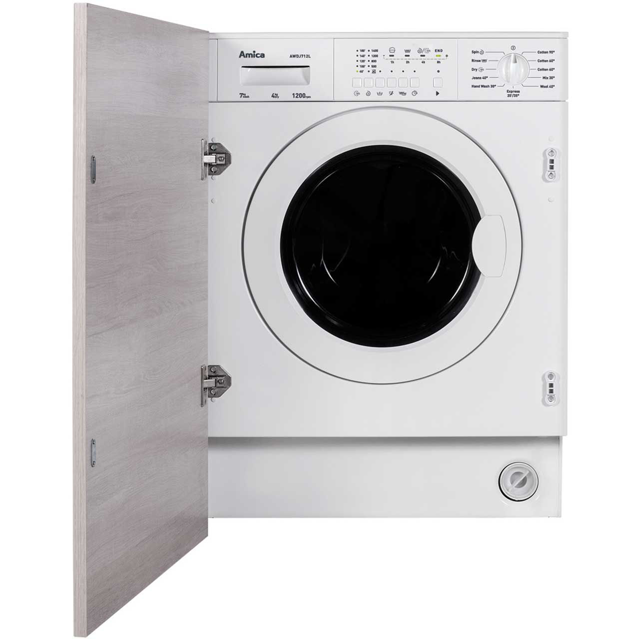 Amica AWDJ712L Integrated Washer Dryer in White