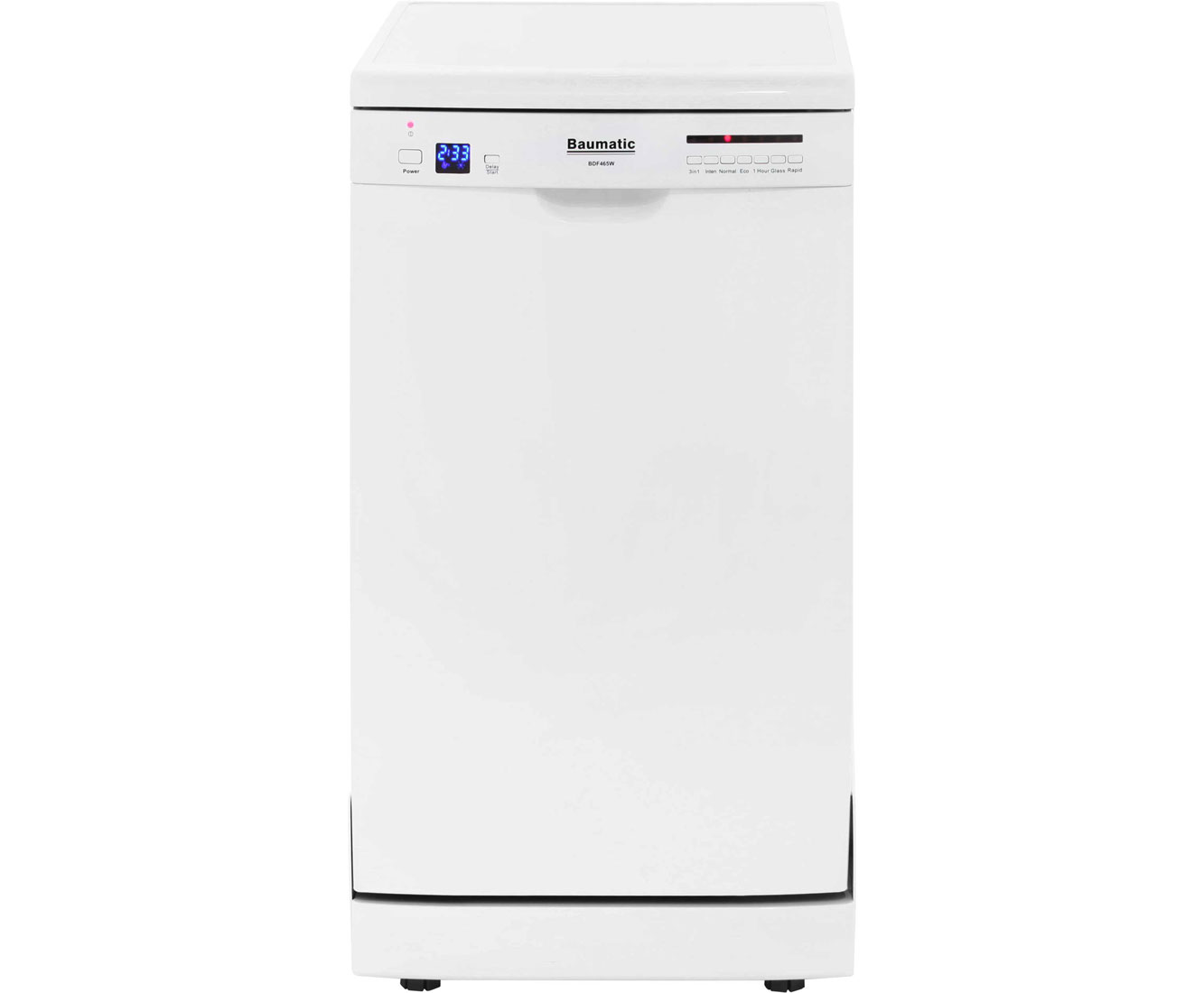 Baumatic BDF465W Free Standing Slimline Dishwasher in White