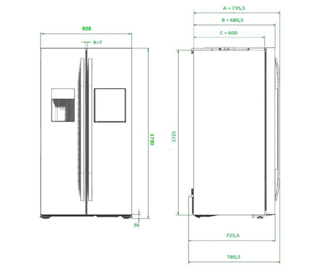 Dimension standard frigo top technical drawing with dimension standard frigo good vitrifrigo - Frigo americain dimension ...