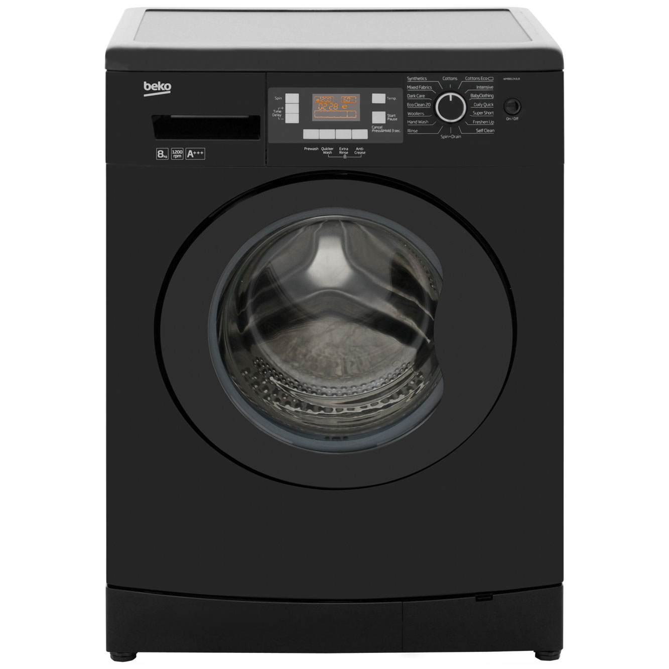 Beko WMB81243LB 8Kg Washing Machine with 1200 rpm - Black