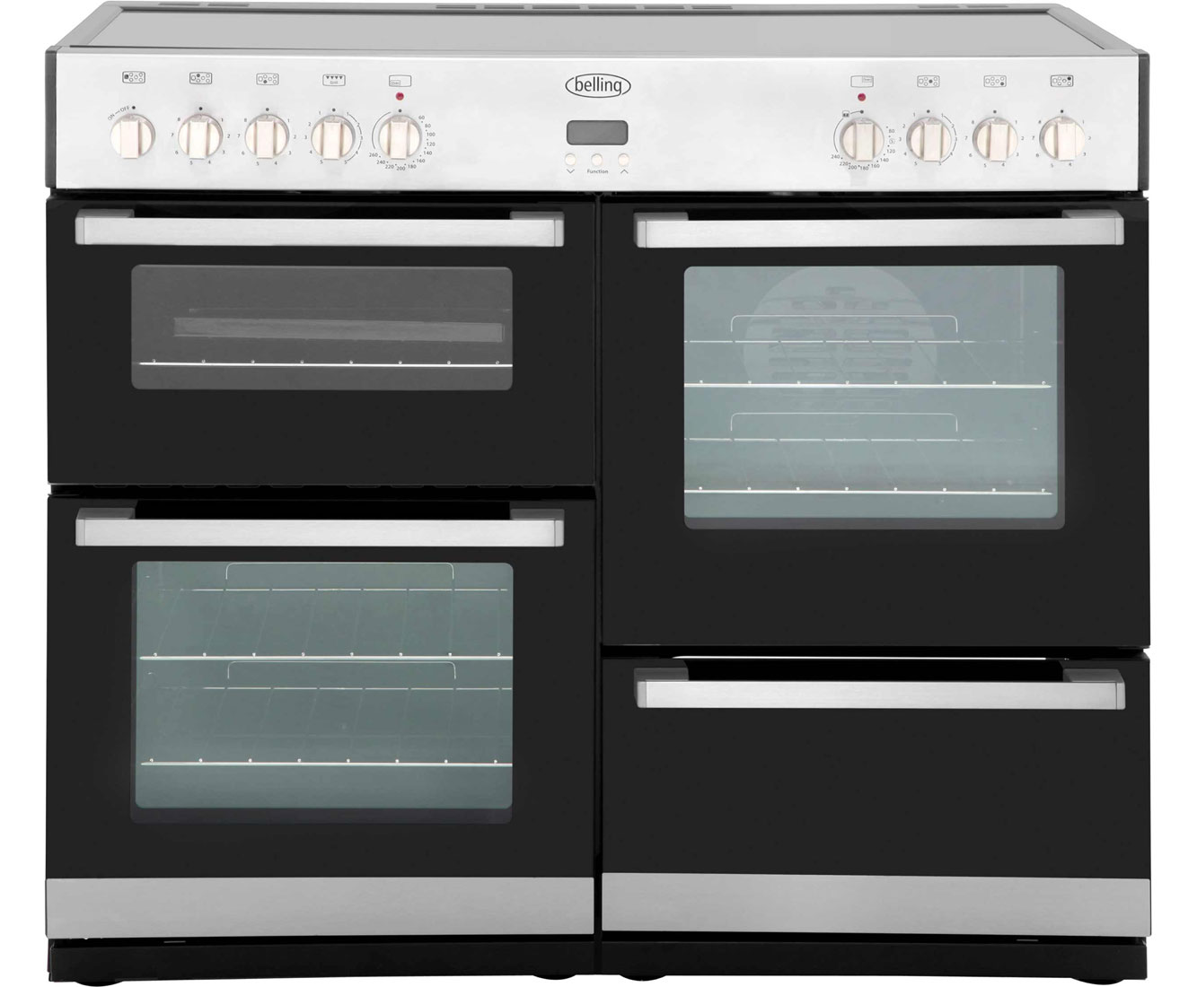 Belling DB4100E 100cm Electric Range Cooker with Ceramic Hob - Stainless Steel / Black