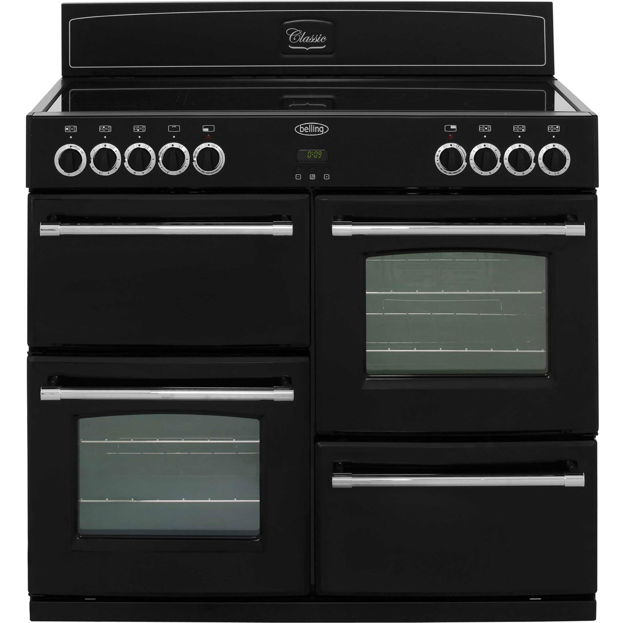 Belling Classic1000E 100cm Electric Range Cooker with Ceramic Hob - Black