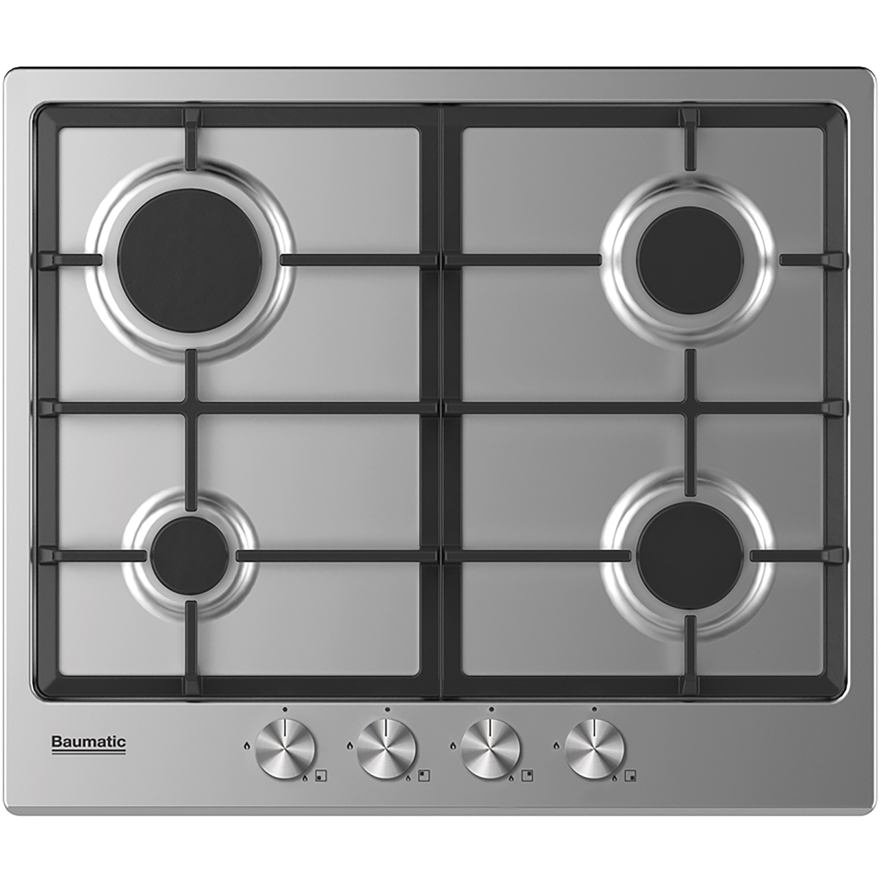 Stainless Steel Baumatic BCPK605X Built In Electric Single Oven and Ceramic Hob Pack Black