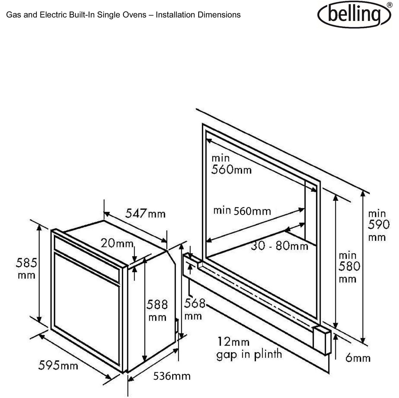 Bi60g Ss Belling Built In Gas Single Oven 48l Ge 300 Line Control Wiring Diagram