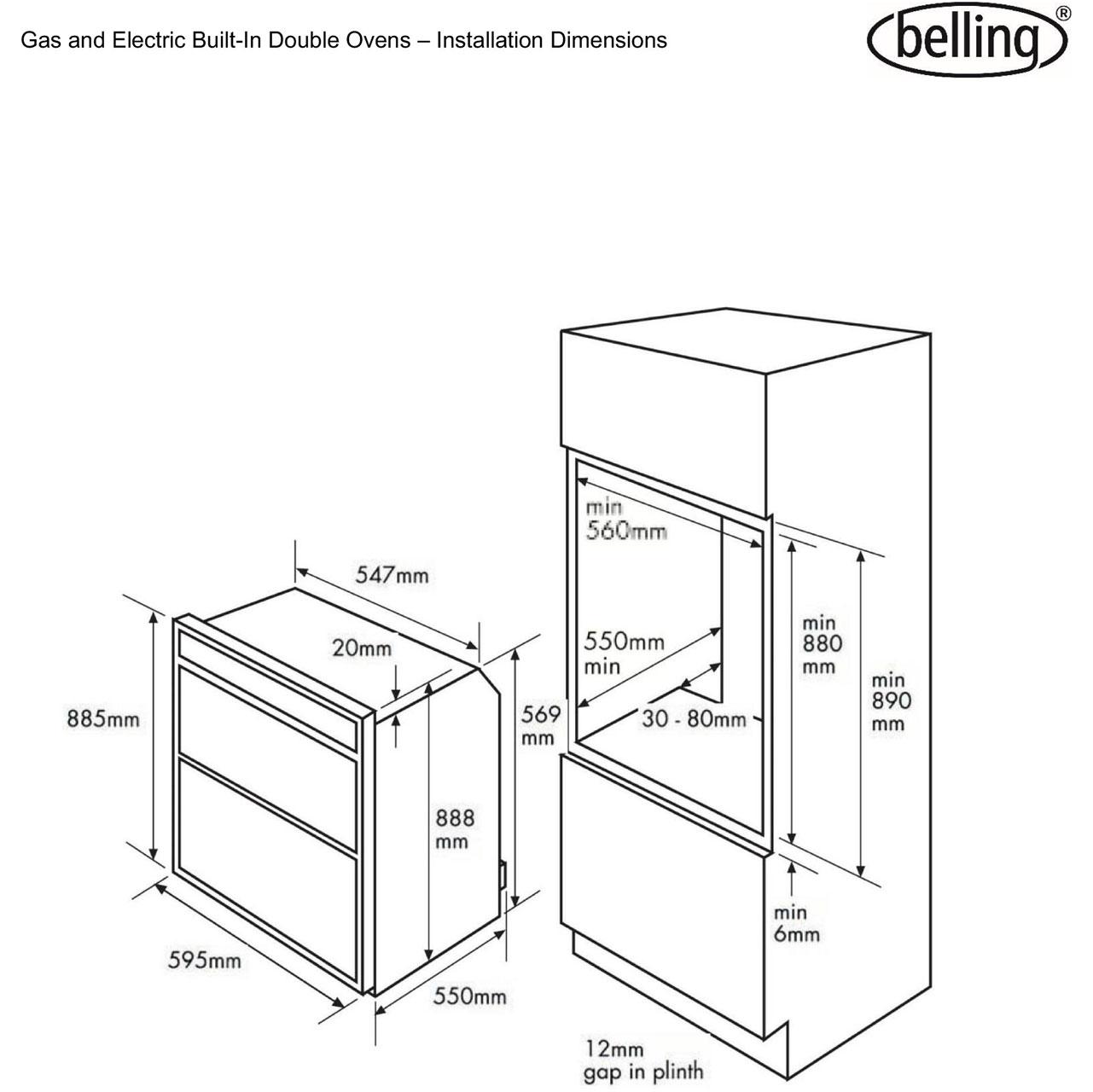 bi90fp_bk_belling_doubleoven_dim_l belling bi90fp built in double oven stainless steel belling cooker wiring diagram at creativeand.co