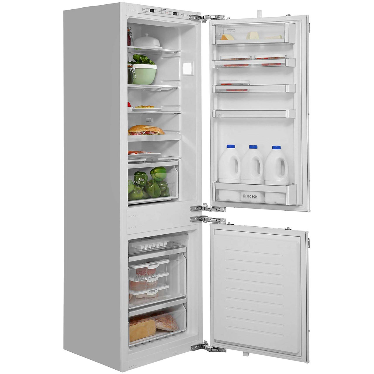Bosch Serie  Kinadg Integrated   Frost Free Fridge Freezer With Fixed Door Fixing Kit White A Rated