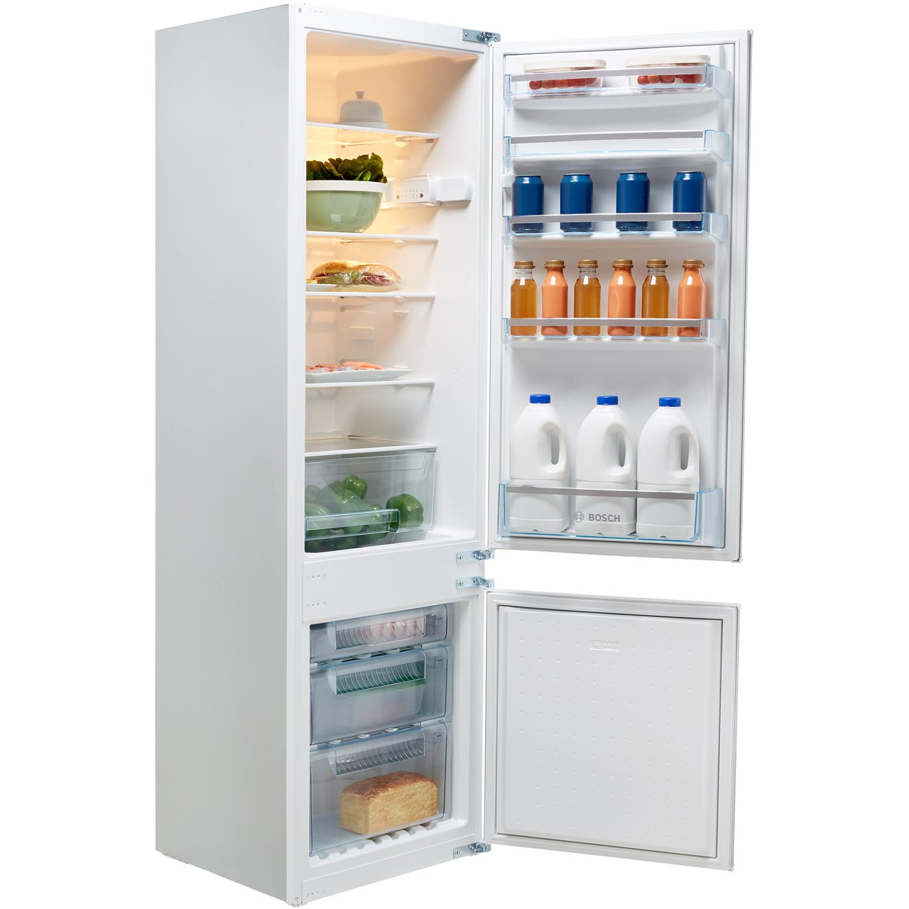 Bosch Serie 2 KIV38X22GB Integrated 70/30 Fridge Freezer with Sliding Door  Fixing Kit - White - A+ Rated