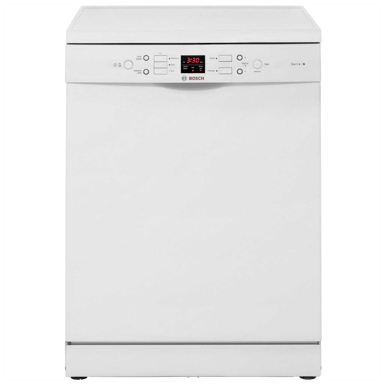 bosch serie 6 sms53m02gb standard dishwasher white. Black Bedroom Furniture Sets. Home Design Ideas