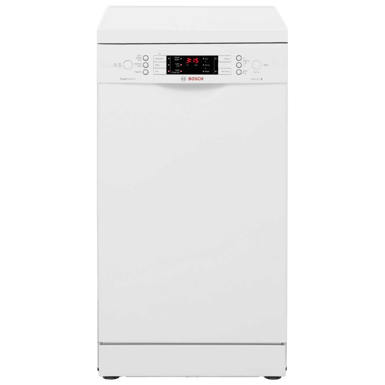 Bosch Serie 6 SPS59T02GB Free Standing Slimline Dishwasher in White
