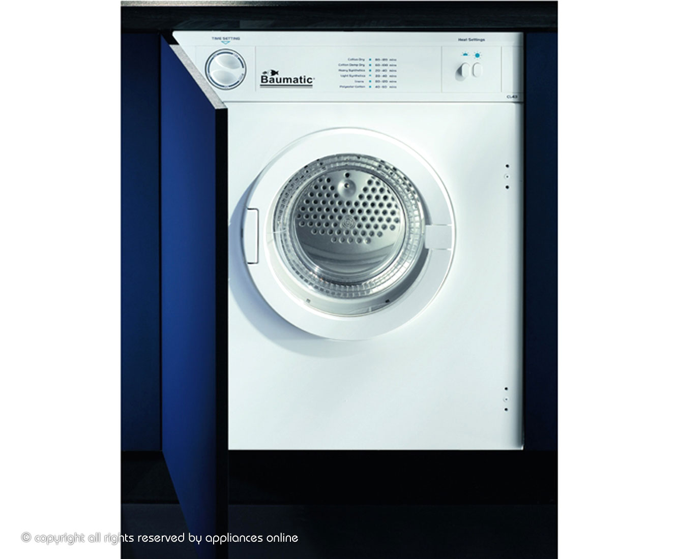Baumatic BTD1 Built In Vented Tumble Dryer - White