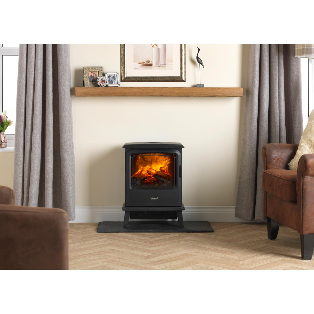 Fabulous Dimplex Bayport Byp20 Log Effect Electric Stove With Remote Control Black Home Interior And Landscaping Mentranervesignezvosmurscom