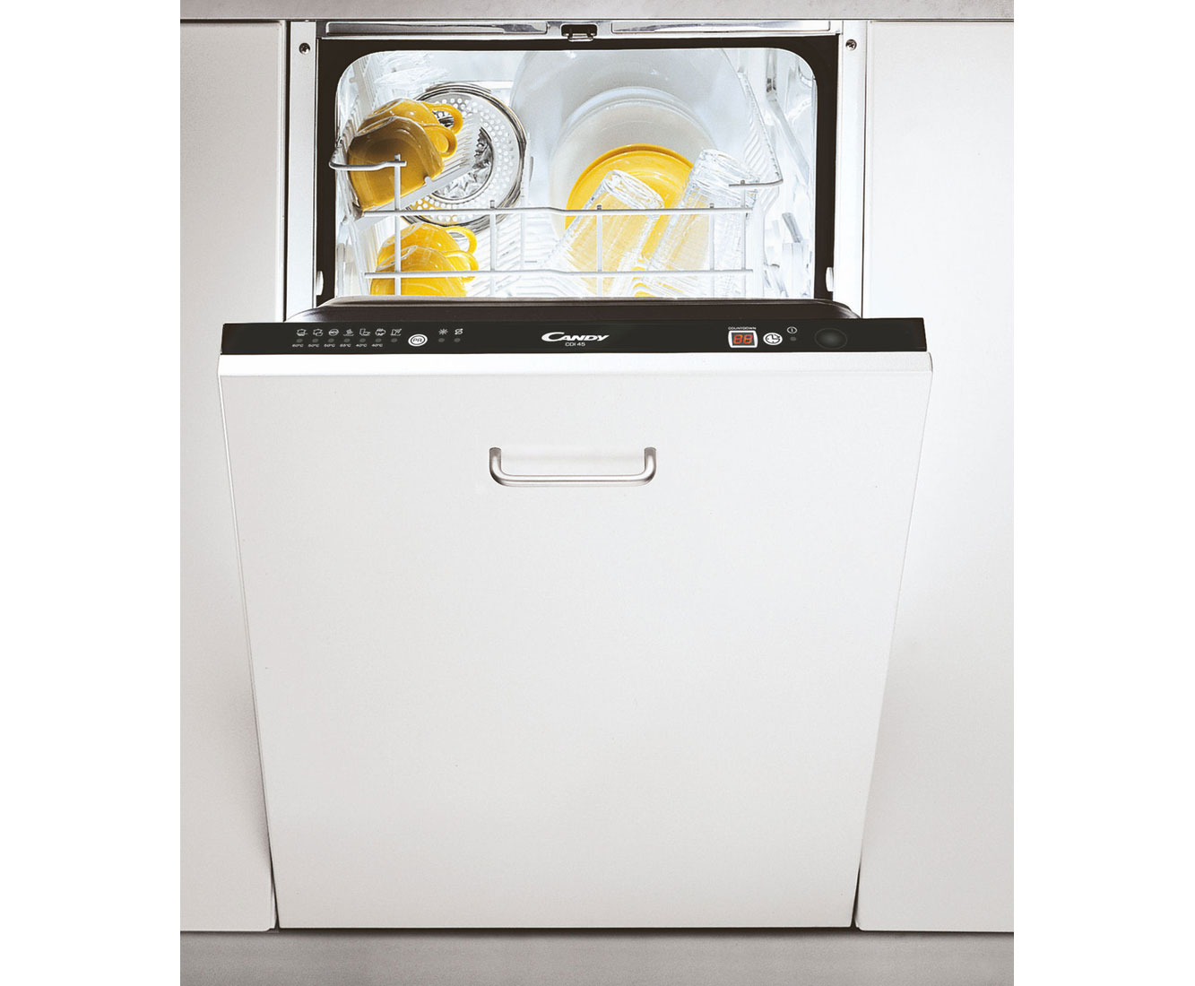 Slimline Kitchen Appliances Candy Cdi4545 E Fully Integrated Slimline Dishwasher Black