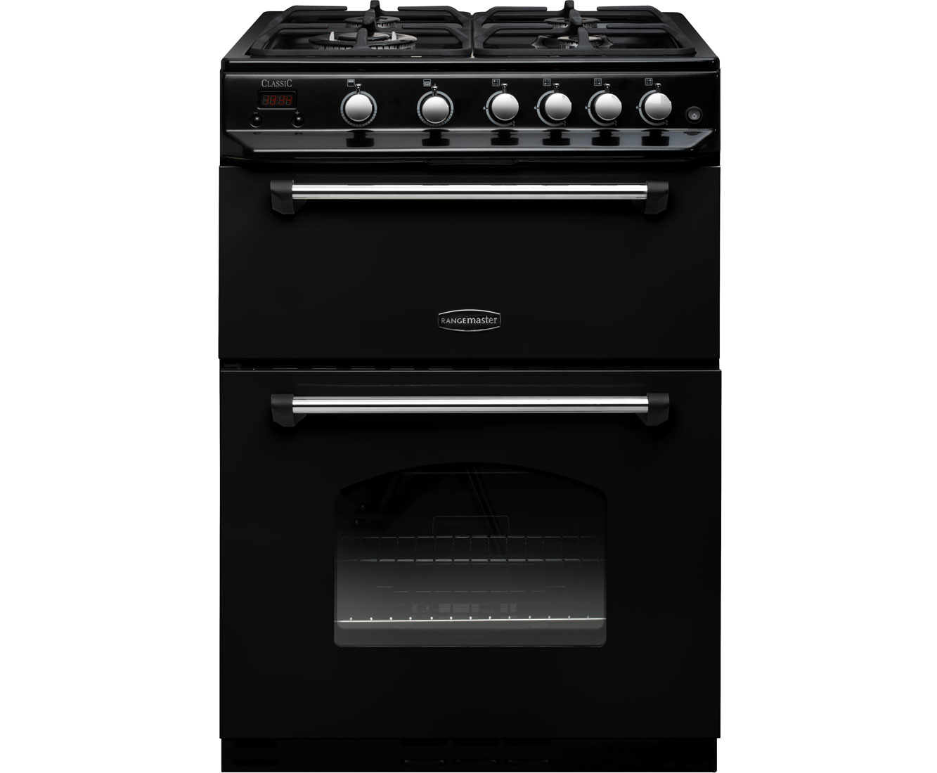 Rangemaster Classic 60 CLAS60NGFBLC Free Standing Cooker in Black  Chrome