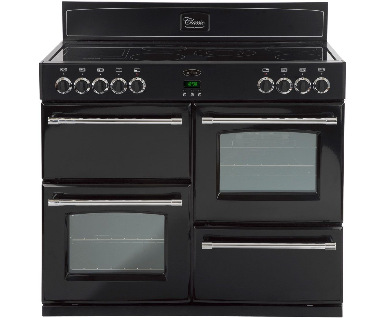 Belling Classic1100E 110cm Electric Range Cooker with Ceramic Hob - Black
