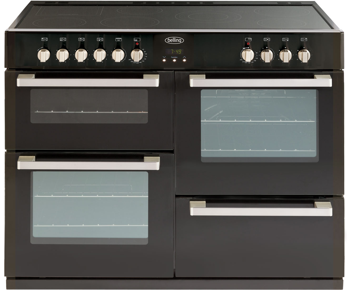 Belling DB4110E 110cm Electric Range Cooker with Ceramic Hob - Black