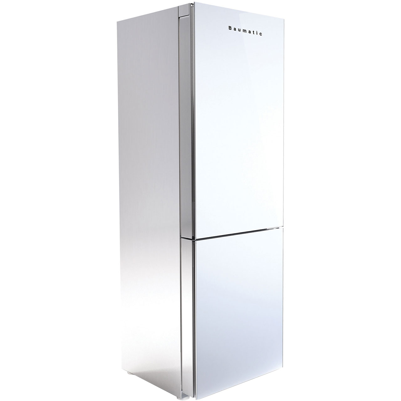 Baumatic DESIRE.WH Free Standing Fridge Freezer Frost Free in White  Stainless Steel