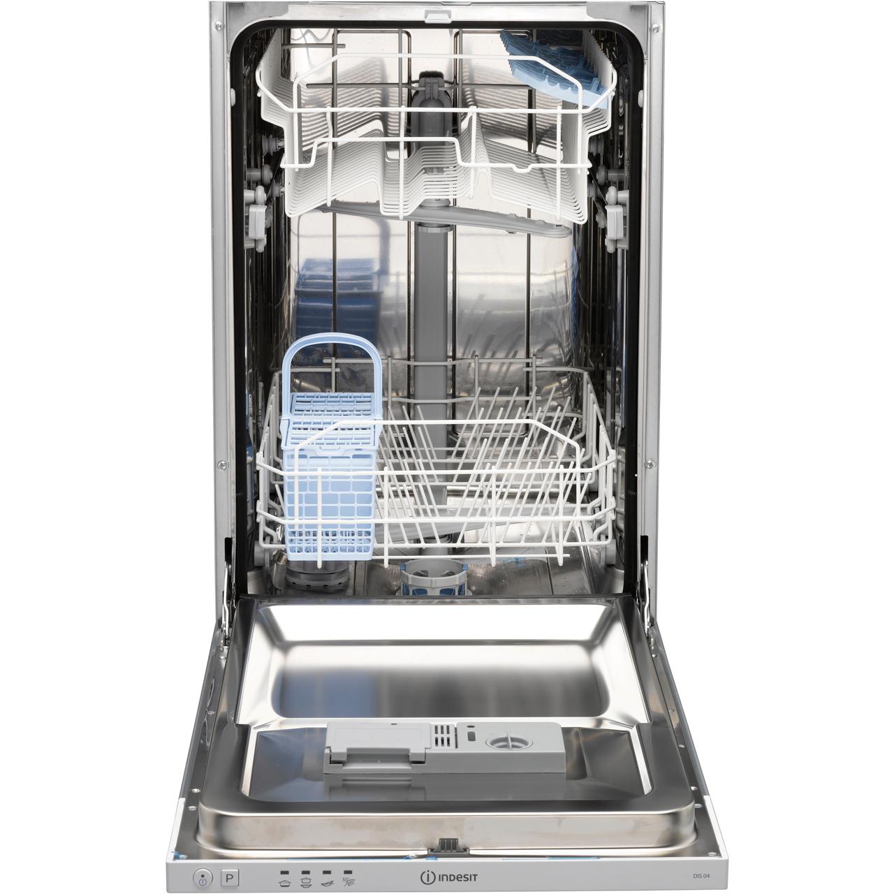 Small Dish Washer Disr14b1 Wh Indesit Slimline Dishwasher Aocom