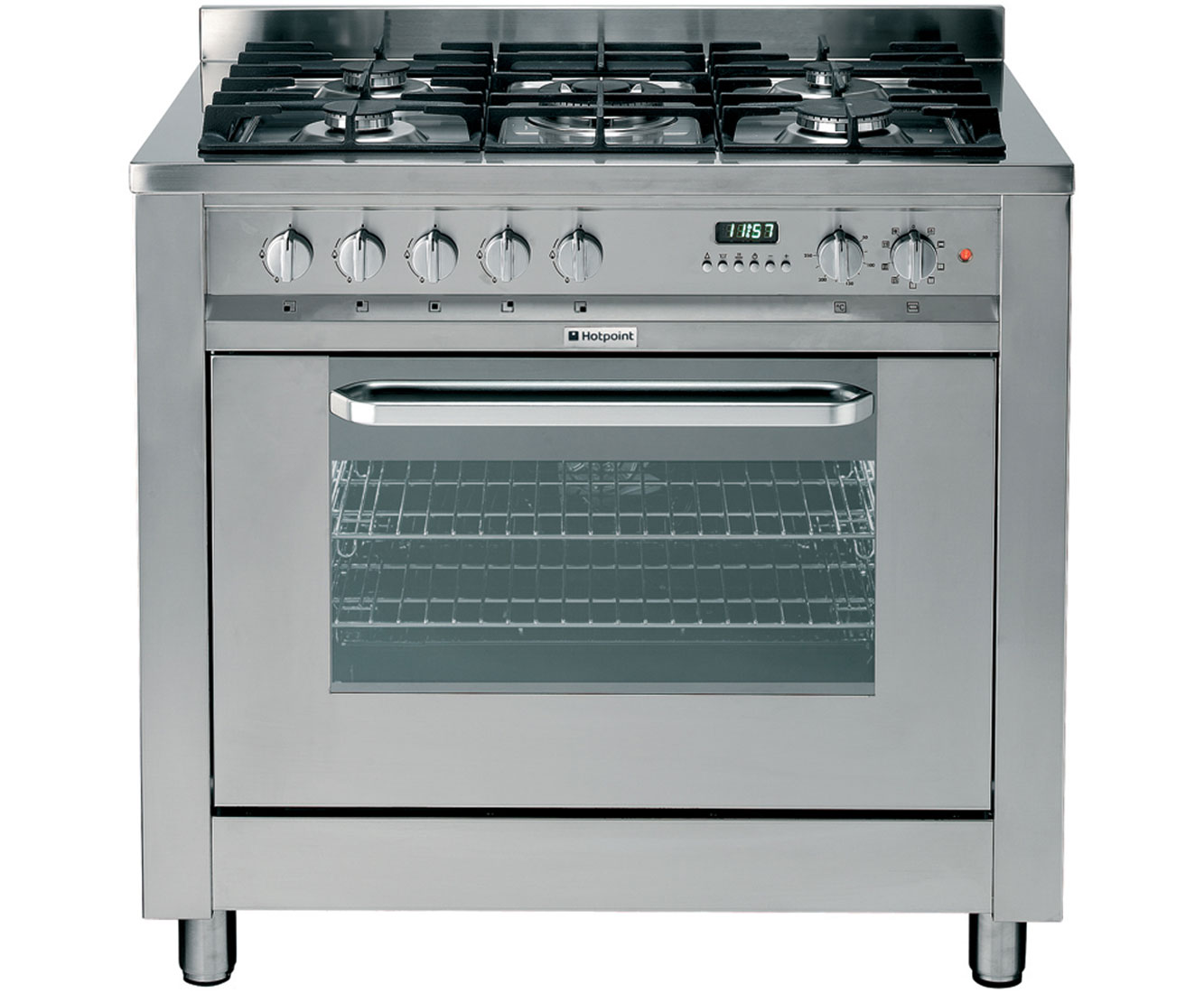 Hotpoint EG900XS 90cm Dual Fuel Range Cooker - Stainless Steel Look