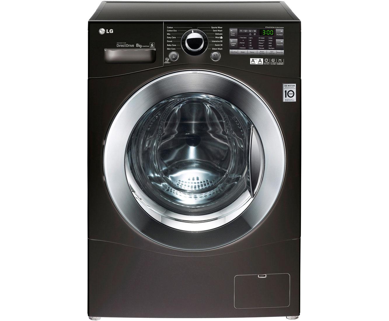 lg 8kg direct drive f12a8tda6 8kg washing machine with 1200 rpm black. Black Bedroom Furniture Sets. Home Design Ideas