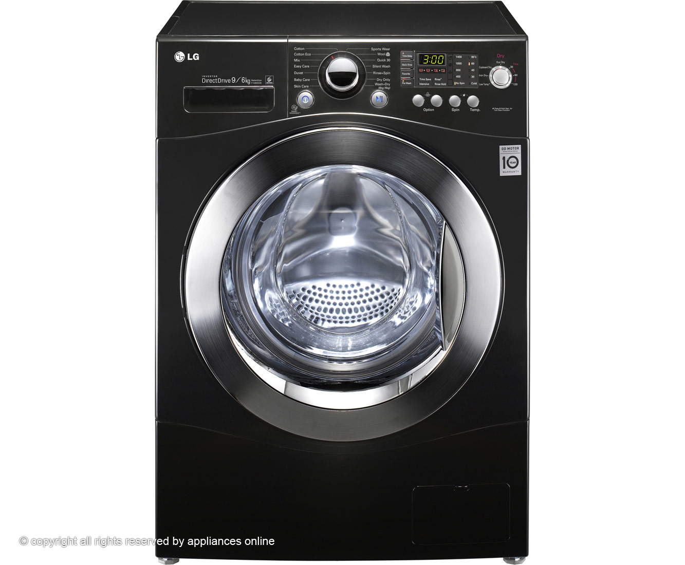 LG F1480RD6 9Kg / 6Kg Washer Dryer with 1400 rpm - Black