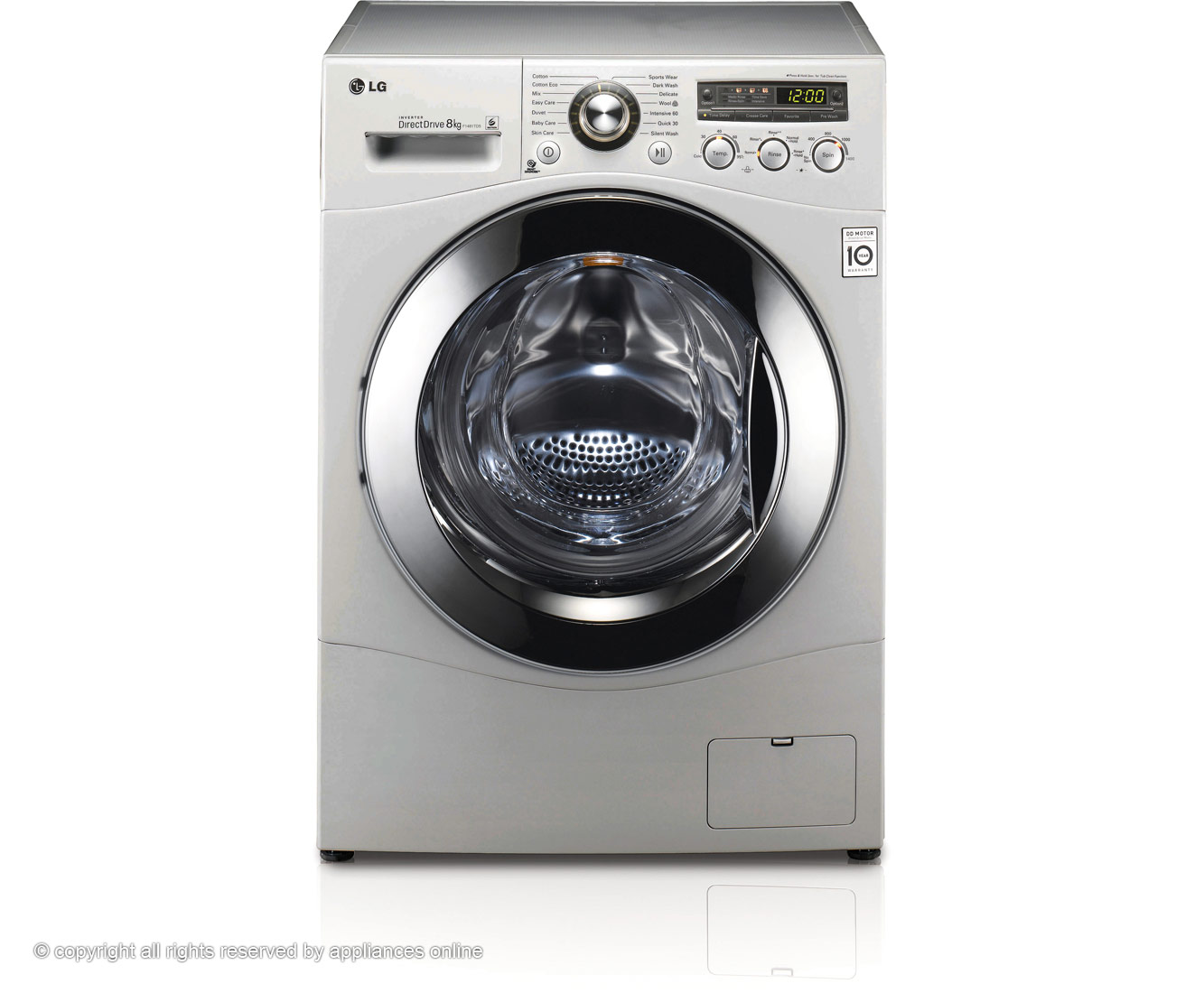 LG 8Kg Direct Drive F1481TD5 8Kg Washing Machine with 1400 rpm - Silver