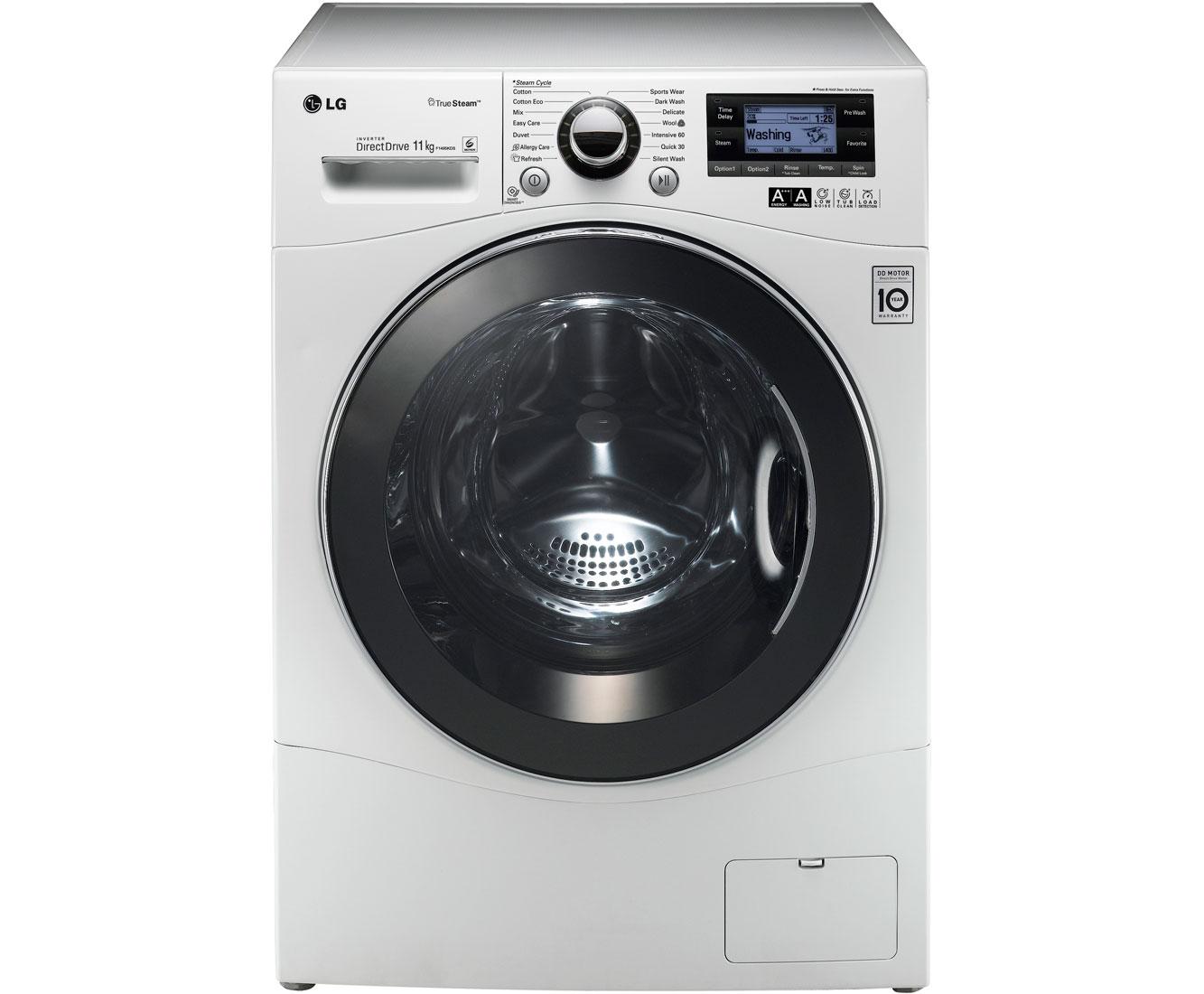LG 11kg Steam Direct Drive F1495KDS 11Kg Washing Machine with 1400 rpm - White