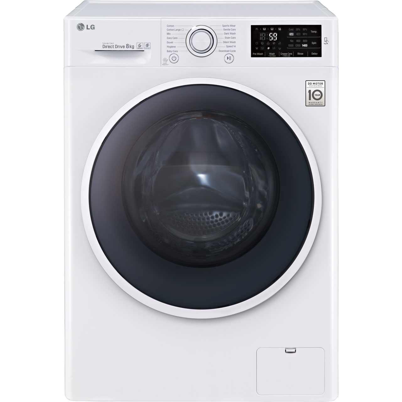 LG F14U2TDN0 Free Standing Washing Machine in White
