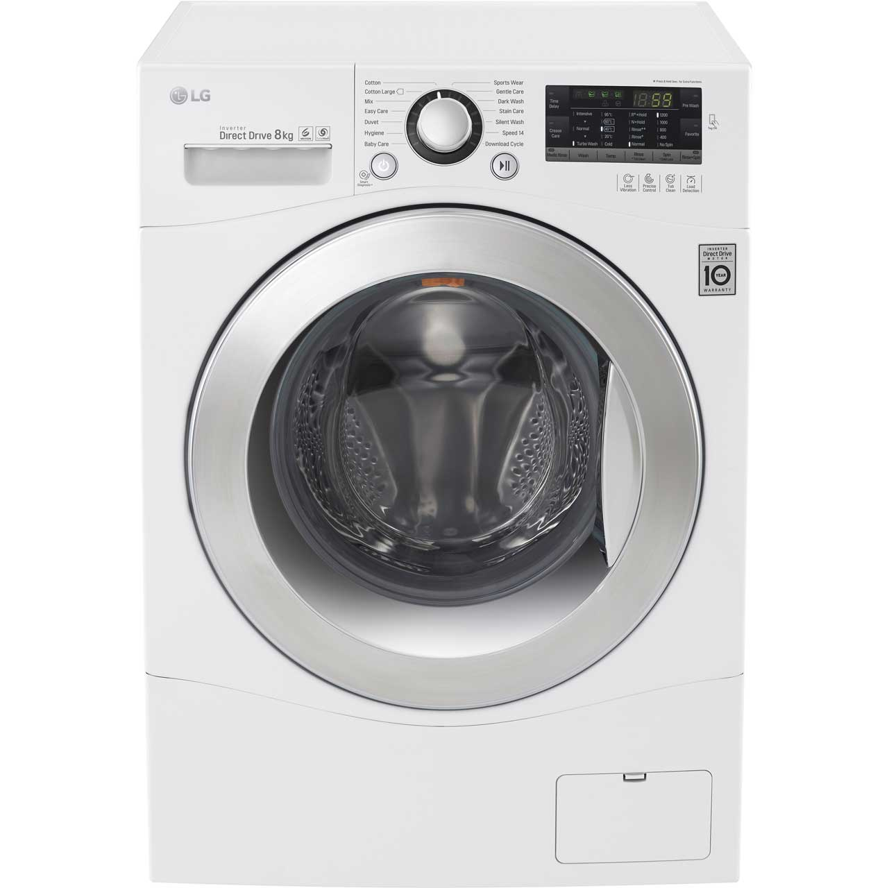 LG FH2A8TDN2 8Kg Washing Machine with 1200 rpm - White