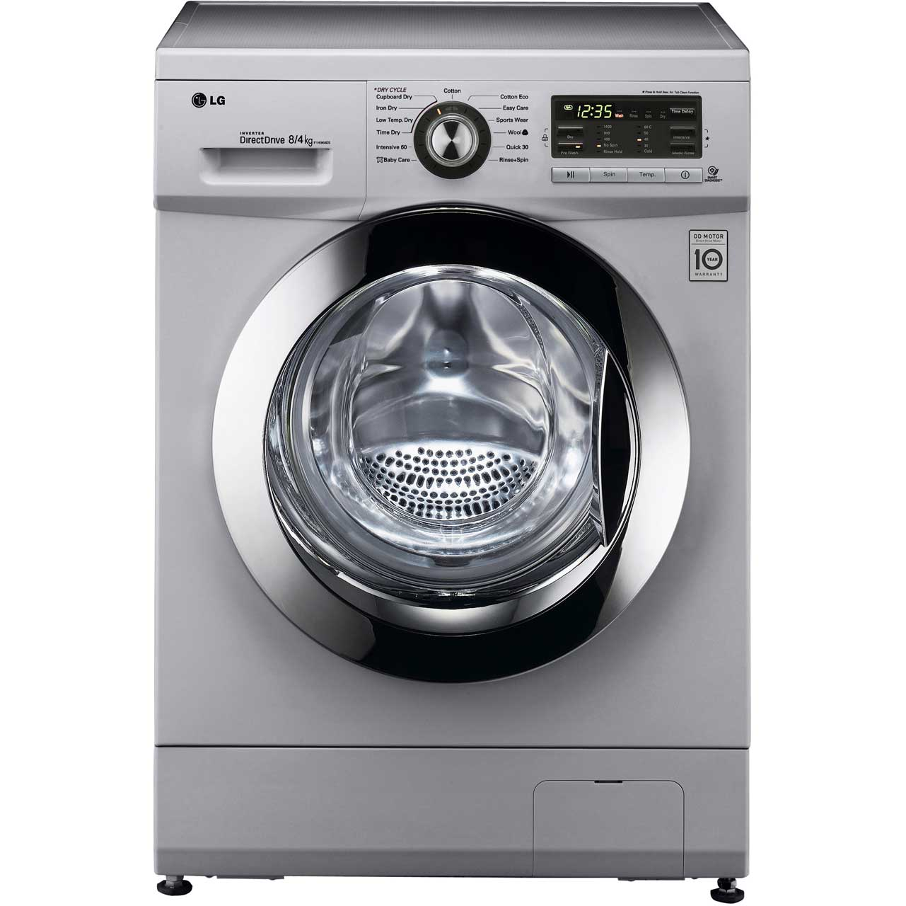 LG 8Kg Direct Drive FH496AD5 8Kg / 4Kg Washer Dryer with 1400 rpm - Silver