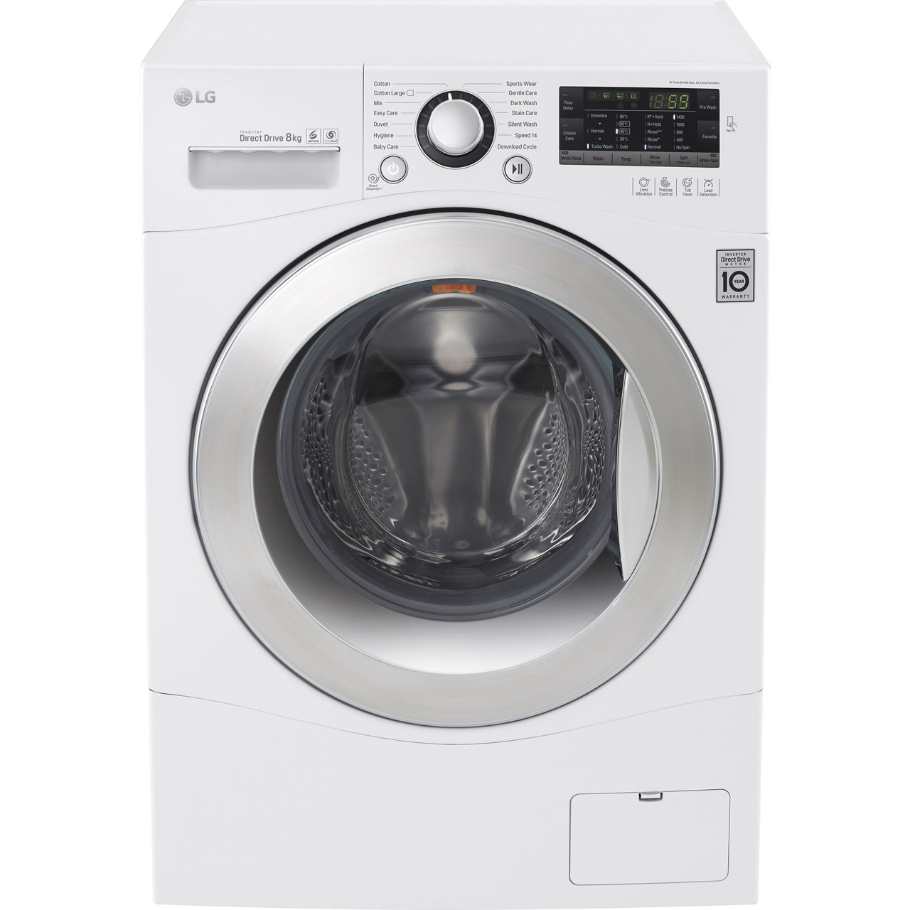 LG FH4A8TDN2 8Kg Washing Machine with 1400 rpm - White