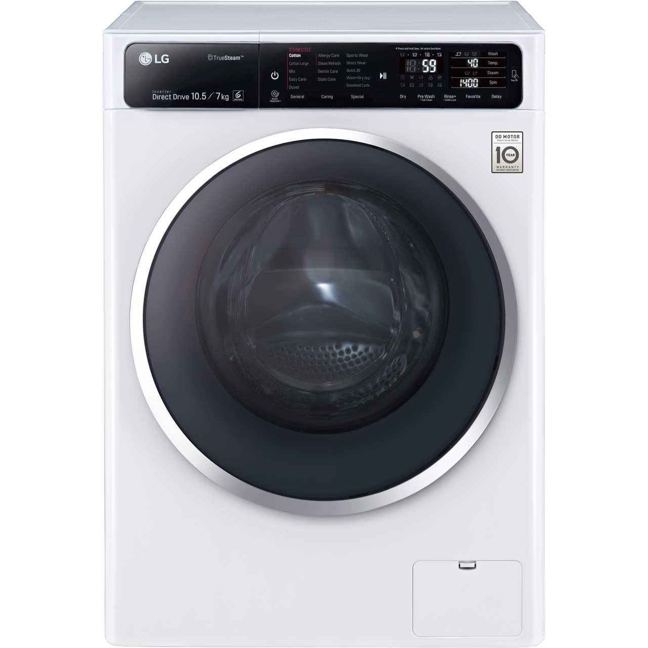 LG Eco Hybrid™ With TrueSteam™ FH4U1JBH2N 10.5Kg / 7Kg Washer Dryer with 1400 rpm - White