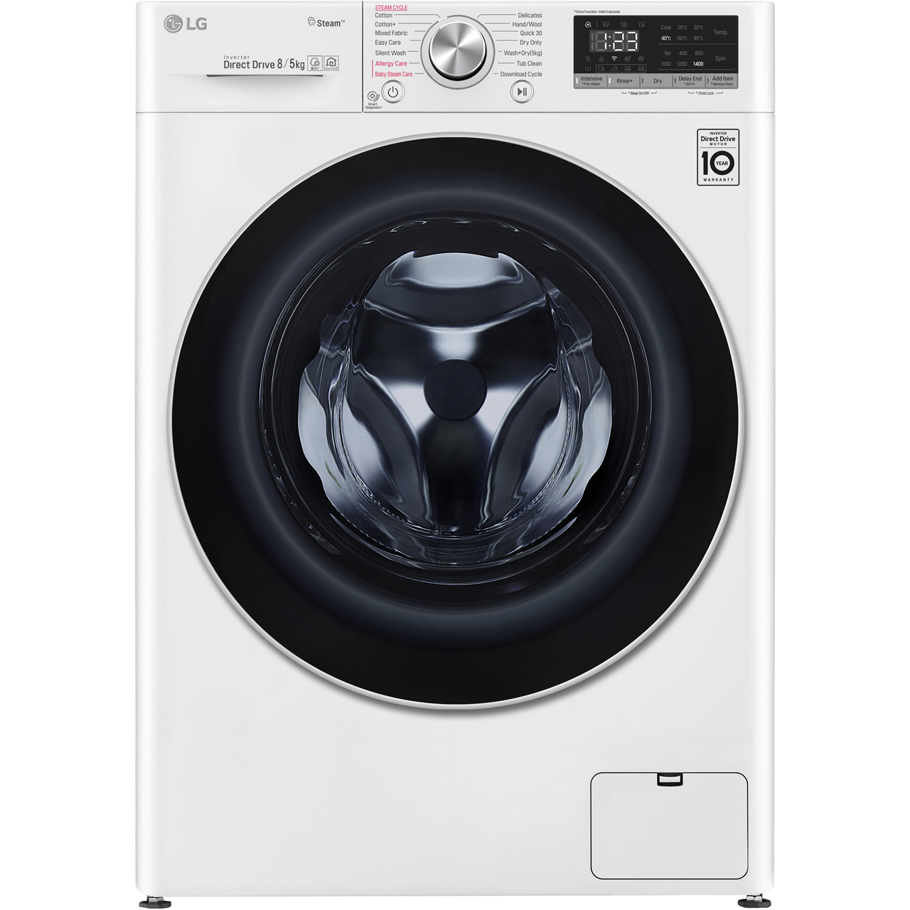 LG V5 FWV585WS Wifi Connected 8Kg / 5Kg Washer Dryer with 1400 rpm - White  - A Rated