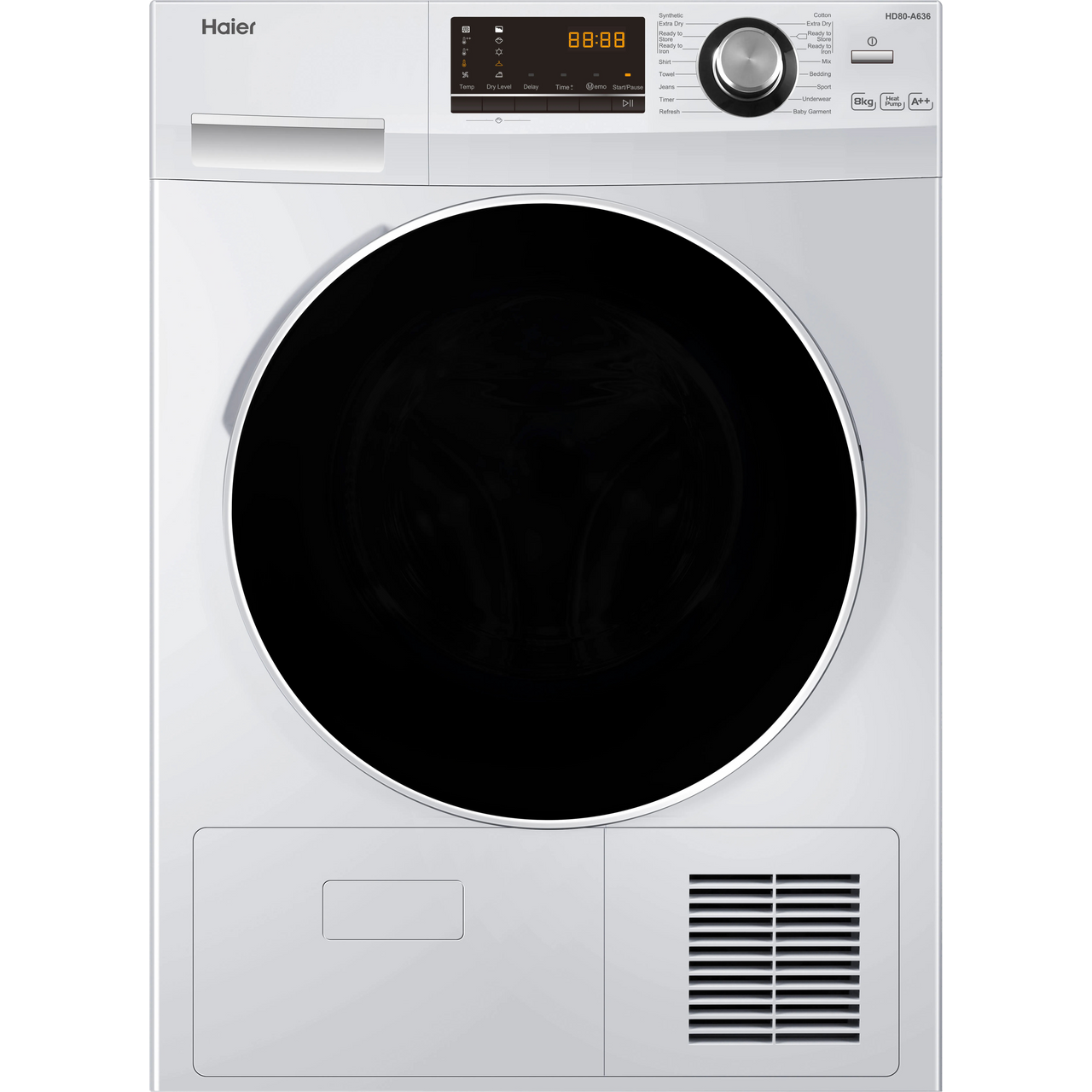 Haier HD80-A636 8Kg Heat Pump Tumble Dryer - White - A++ Rated