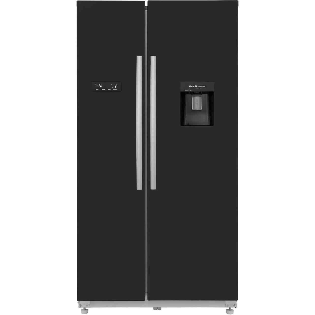 Hisense RS723N4WB1 Free Standing American Fridge Freezer in Black Gloss