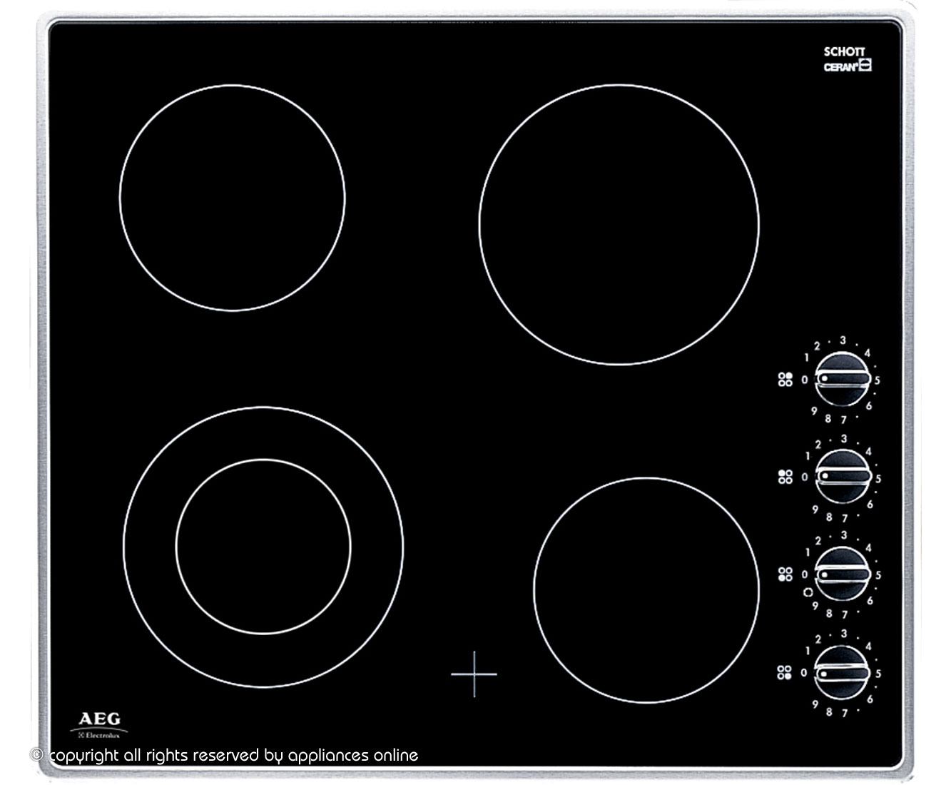 AEG HK614010MB Integrated Electric Hob in Black  Stainless Steel